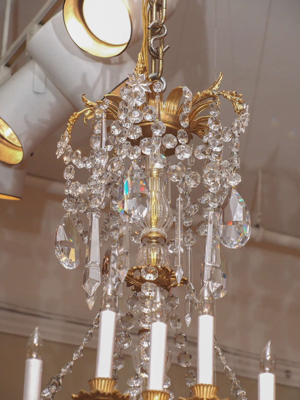 Antique French Baccarat Crystal and Bronze D'ore 24 Light Chandelier circa 1890 3