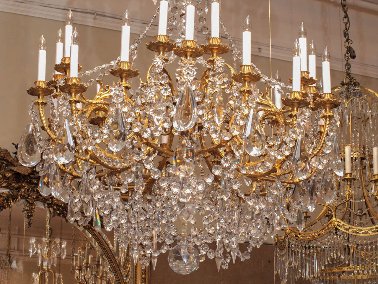 19th Century Antique French Baccarat Crystal and Bronze D'ore 24 Light Chandelier circa 1890 For Sale