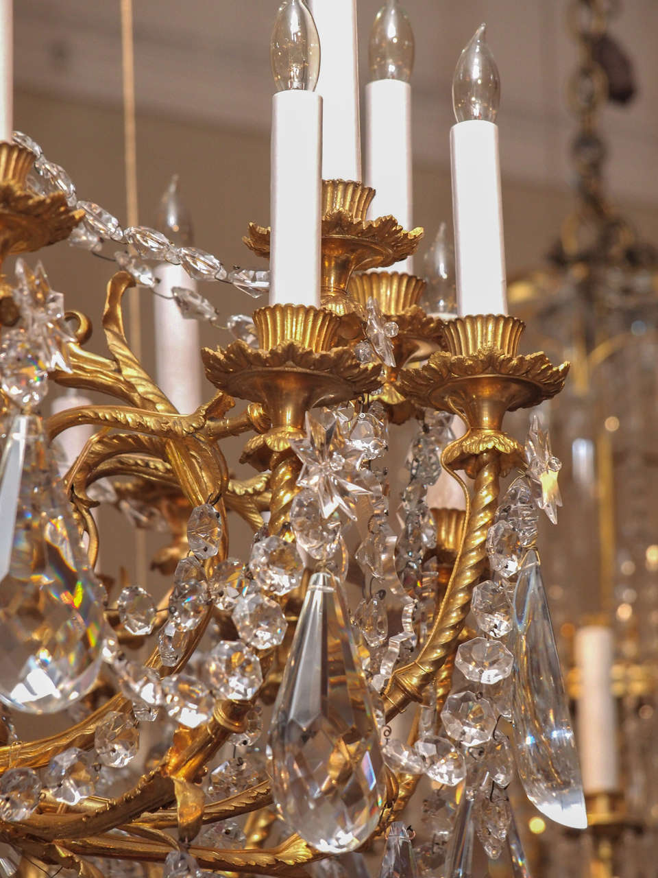 Antique French Baccarat Crystal and Bronze D'ore 24 Light Chandelier circa 1890 6