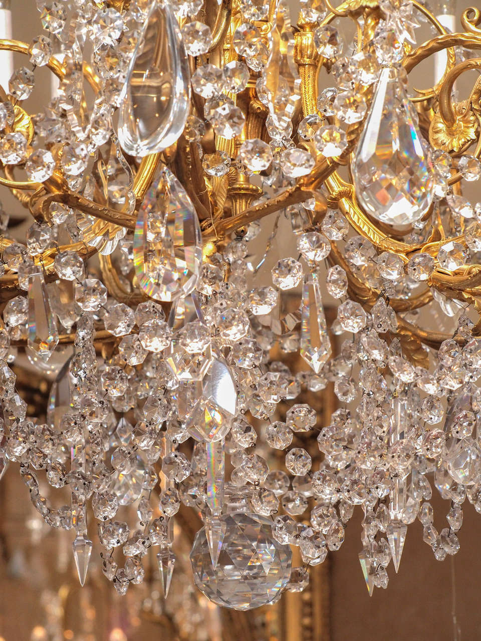 Antique French Baccarat Crystal and Bronze D'ore 24 Light Chandelier circa 1890 7