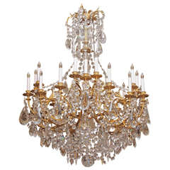 Antique French Baccarat Crystal and Bronze D'ore 24 Light Chandelier circa 1890