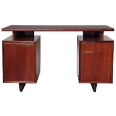"Gilbert Rohde Herman Miller ""All Walnut"" Inlaid Desk with Lucite Pulls"
