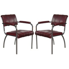 Pair of Original Gilbert Rohde for Troy Sunshade Machine Age Armchairs