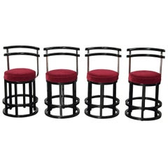 Machine Age Design Set of Four Stools, in the Manner of McKay, Art Deco