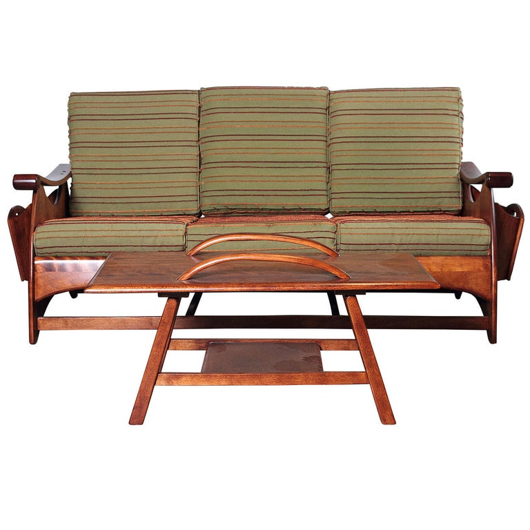 Gilbert Rohde Art Deco Sofa and Coffee Table Heywood Wakefield Reduced For Sale
