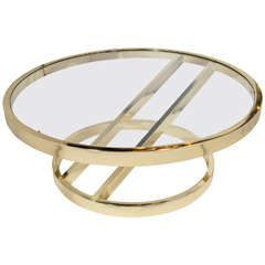 Circular Brass Coffee Table with Cantilevered Base by Milo Baughman