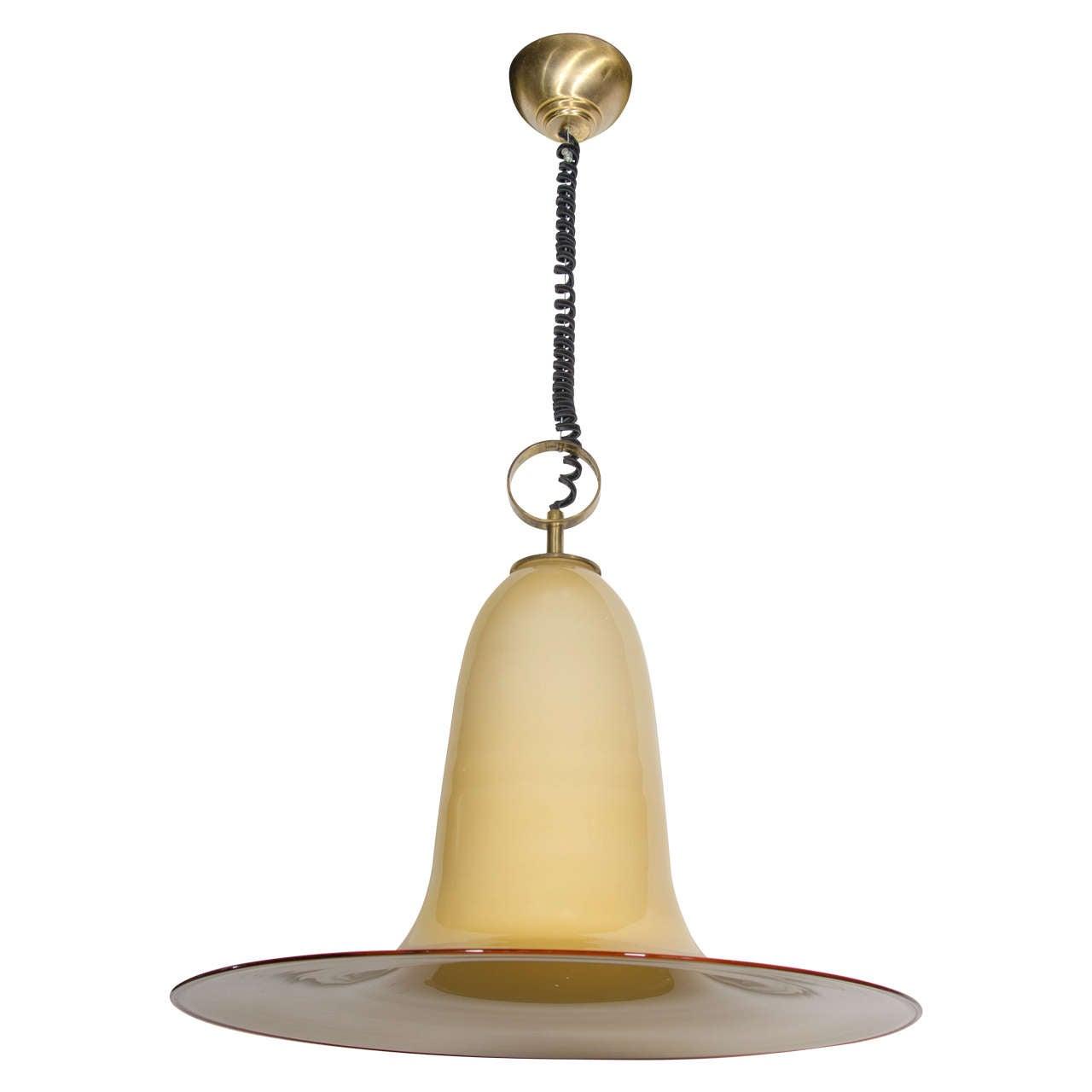 large murano glass pendant light by seguso at 1stdibs