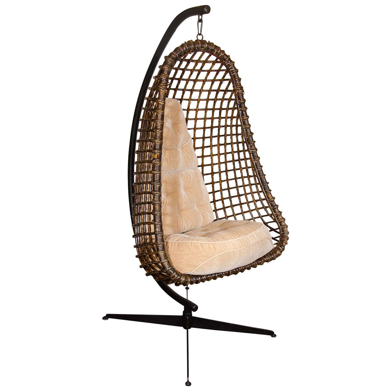 Rare Outstanding Mid Century Modern Hanging Cocoon Chair For Sale