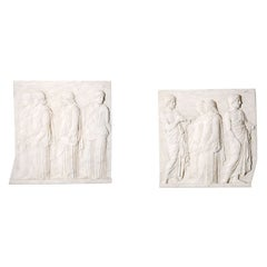 Plaster Reliefs of Greek Gods's with Stamp of the Atelier