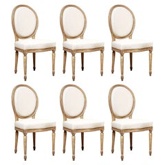 Set of Six Oval Back  Painted Louis XVI Style Dining Chairs