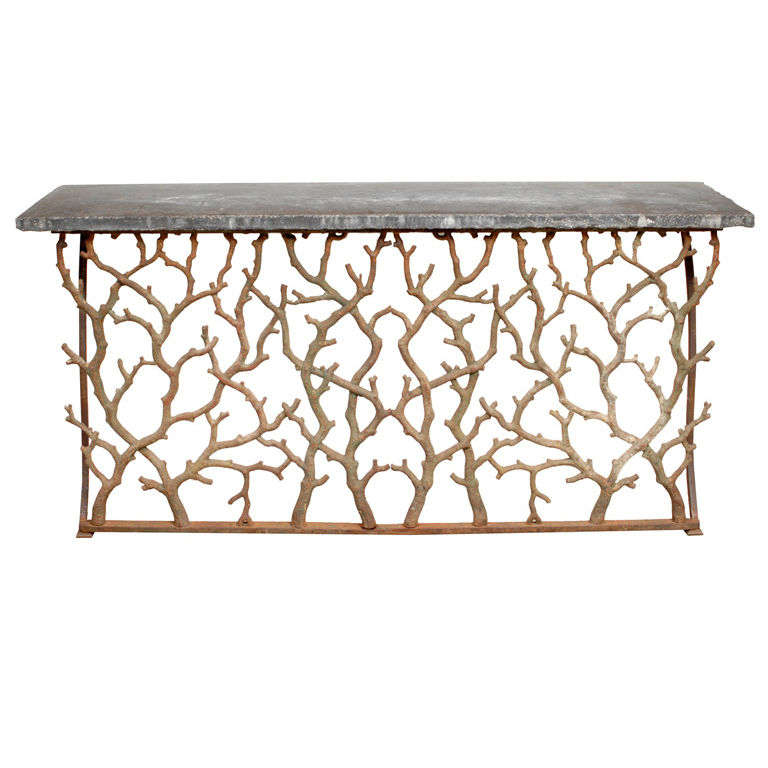 Twig Cast Iron Console With Blue Stone Top 1