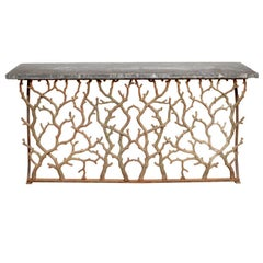 Twig Cast Iron Console with Blue Stone Top