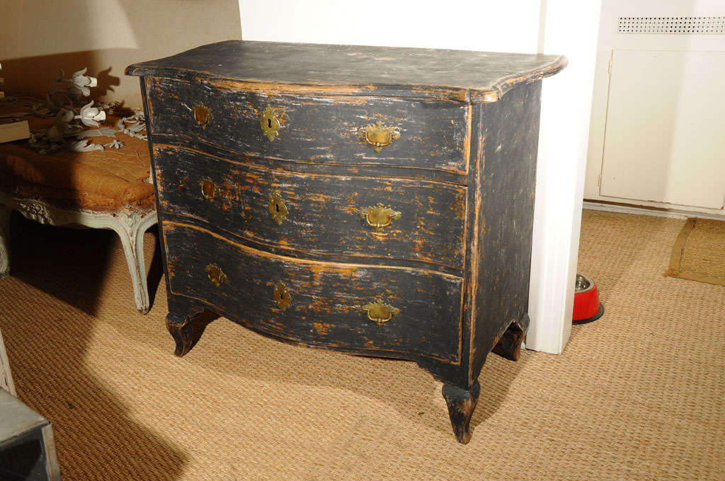 18th C. Swedish Rococo black painted chest with rare brass hardware decorated with crown and cross, circa 1760.