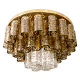 Clear and amber Murano glass element ceiling fixture by Mazzega