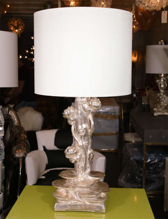 Pair of Platinum Gilt Lotus Blossom Lamps 2
