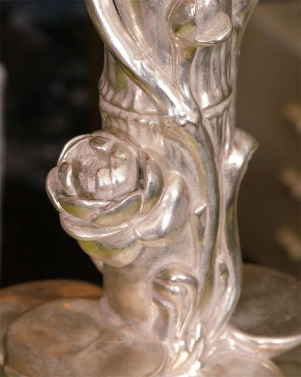 Pair of Platinum Gilt Lotus Blossom Lamps 5