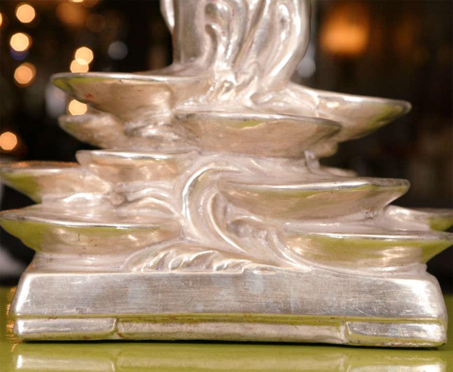 Pair of Platinum Gilt Lotus Blossom Lamps 6