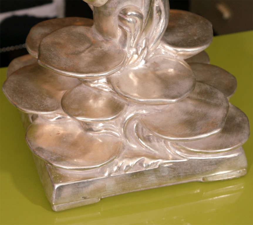 Pair of Platinum Gilt Lotus Blossom Lamps 7