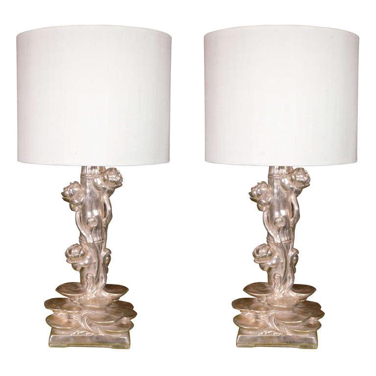 Pair of Platinum Gilt Lotus Blossom Lamps 1
