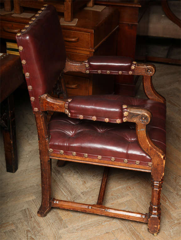 British Pugin Style Armchair Leather Seat and Back For Sale