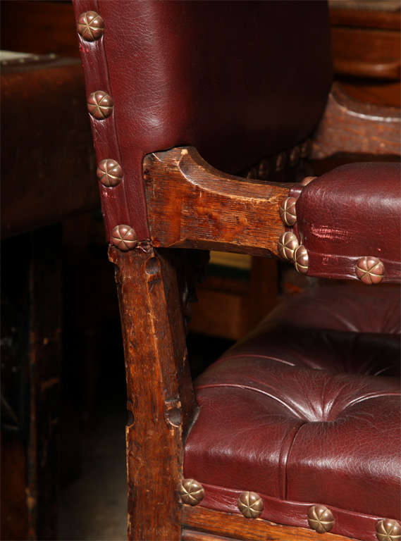Pugin Style Armchair Leather Seat and Back In Excellent Condition For Sale In New York, NY