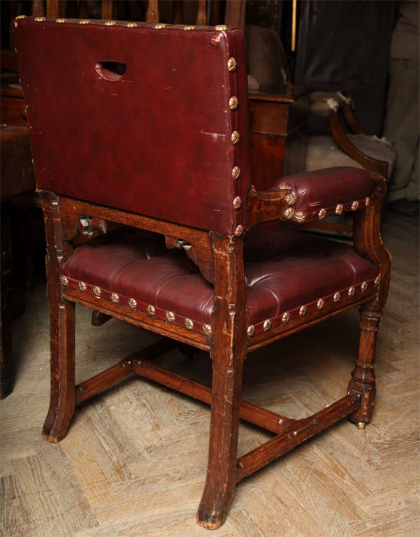 19th Century Pugin Style Armchair Leather Seat and Back For Sale