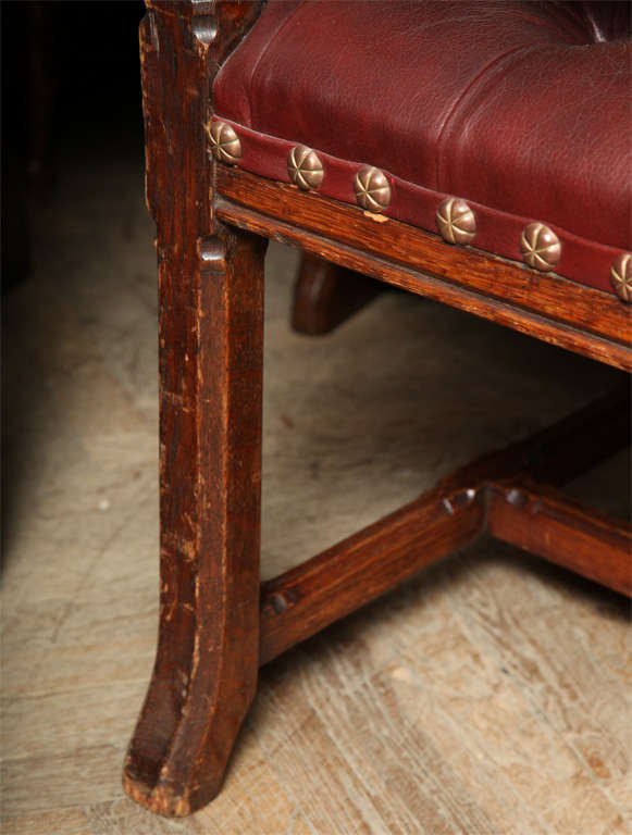 Pugin Style Armchair Leather Seat and Back For Sale 1