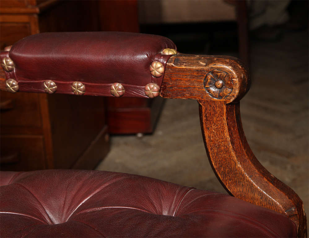Pugin Style Armchair Leather Seat and Back For Sale 3