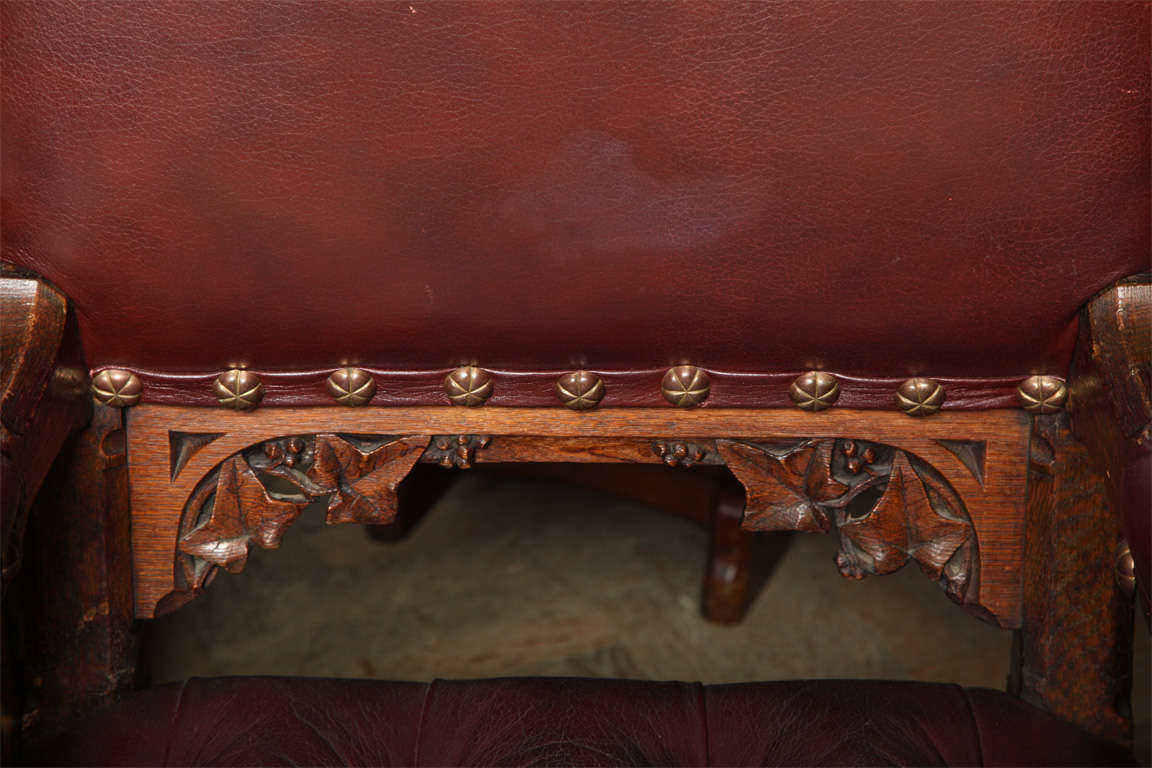 Pugin Style Armchair Leather Seat and Back For Sale 4