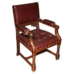Pugin Style Armchair Leather Seat and Back