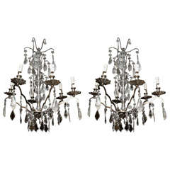 Pair of Chrome and Rock Crystal Chandeliers