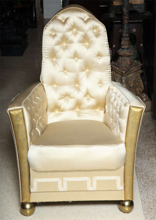 Pair of very unusual French Art Deco upholstered and giltwood armchairs with bronze ball feet (seat measurements are 17