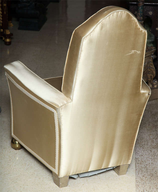 Bronze Unusual Pair of Art Deco Style Armchairs For Sale