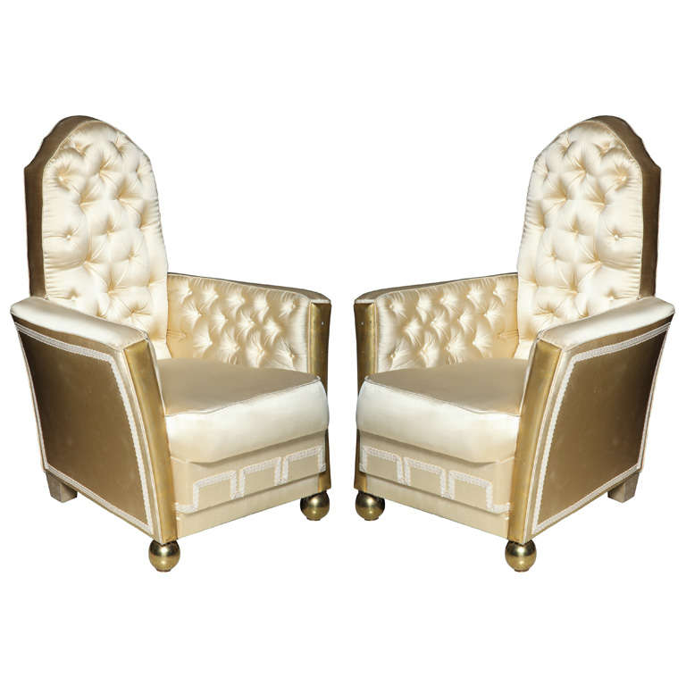 Unusual Pair of Art Deco Style Armchairs For Sale