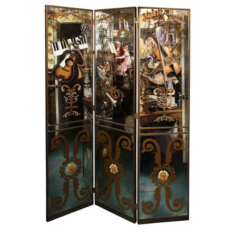 Hand Painted Mirrored Three Panel Screen At 1stdibs