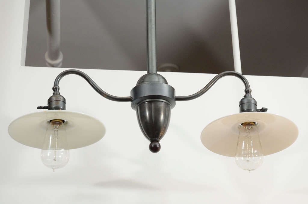 Milk Glass Bath Light: Antique Double Arm Light Fixture With Milk Glass Shades
