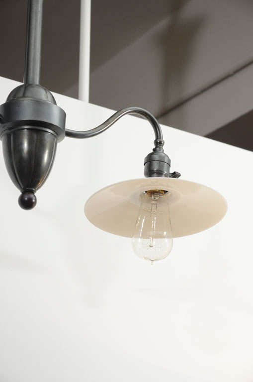 Antique Double Arm Light Fixture With Milk Glass Shades