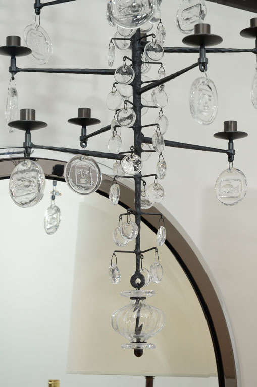 Rare 12 Light Iron & Crystal Chandelier by Erik Hoglund 3
