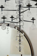 Rare 12 Light Iron & Crystal Chandelier by Erik Hoglund thumbnail 3