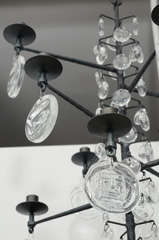 Rare 12 Light Iron & Crystal Chandelier by Erik Hoglund thumbnail 6