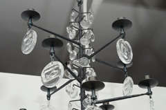 Rare 12 Light Iron & Crystal Chandelier by Erik Hoglund thumbnail 7