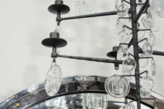 Rare 12 Light Iron & Crystal Chandelier by Erik Hoglund thumbnail 8