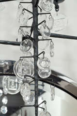 Rare 12 Light Iron & Crystal Chandelier by Erik Hoglund thumbnail 9
