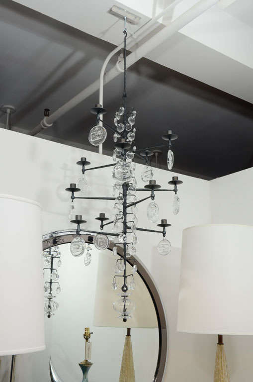 Rare 12 Light Iron & Crystal Chandelier by Erik Hoglund 2
