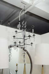 Rare 12 Light Iron & Crystal Chandelier by Erik Hoglund thumbnail 2