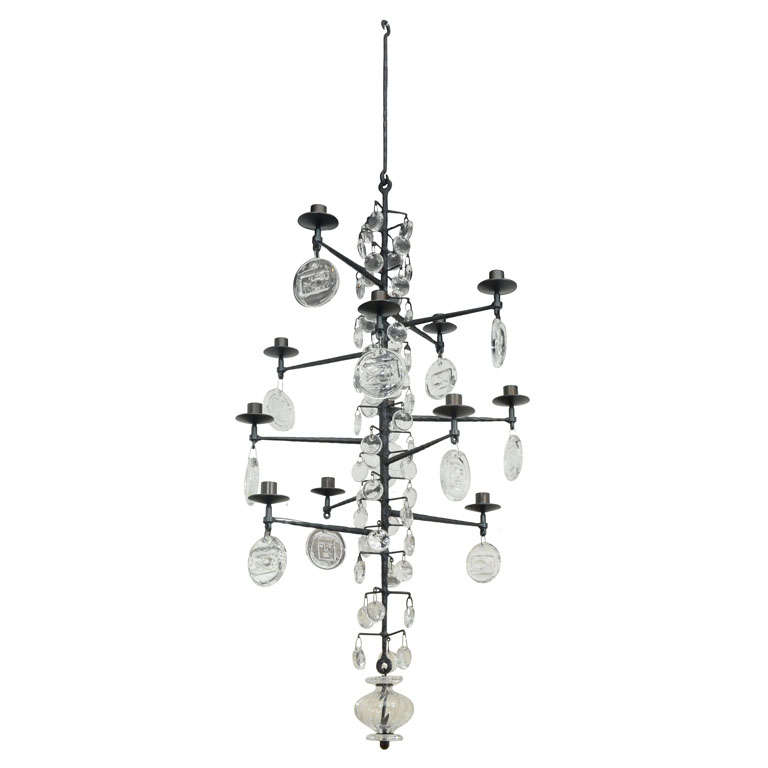 Rare 12 Light Iron & Crystal Chandelier by Erik Hoglund