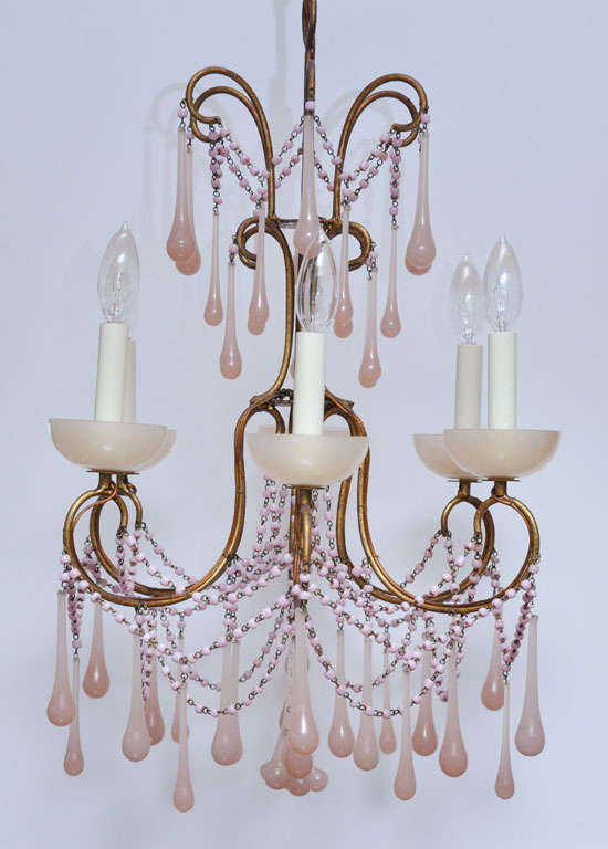 Pale Pink Opaline Glass Chandelier image 3