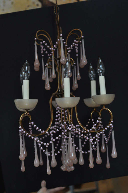 Pale Pink Opaline Glass Chandelier image 5