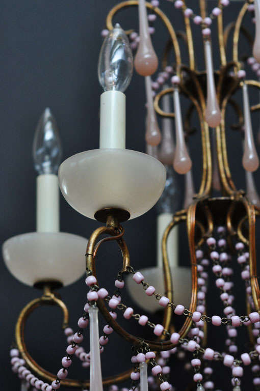 Pale Pink Opaline Glass Chandelier image 7