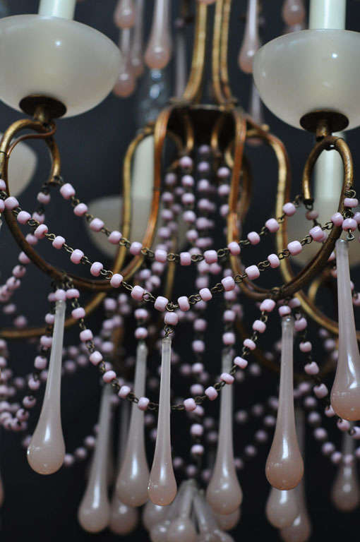Pale Pink Opaline Glass Chandelier image 9